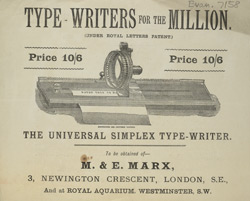Advert For M. & E. Marx Typewriters
